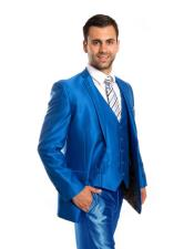 Sharkskin Flashy Metallic Silky Shiny 2 Button Single Breasted 3 Piece