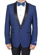 Mens Blue Super 150s Viscose Blend 1 Button Tuxedo Solid Pattern Side