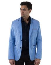 Mens Blue Single Breasted Linen Fabric Long Sleeve 2 Button Slim Fit Blazer