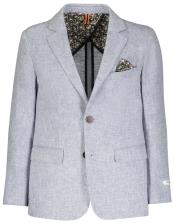 Boys 2 Button Single Breasted Blue Herringbone Linen Blazer