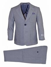 Boys Single Breasted Notch Lapel Blue Linen Suit And Pant