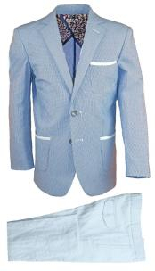 Boys Single Breasted 2 Pc Notch Lapel Blue Linen Tonal Suit And Pant