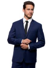 Mens Single Breasted Slim Fit Blue 2 Button Notch Lapel Plaid Suit