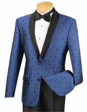 Mens Blue 2 Button Slim Fit Polka Dot Shawl Lapel Fashion Tuxedo