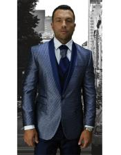 Single Breasted Blue Modern Fit Shawl Lapel Suit