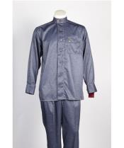6 Button Blue  Single Breasted Casual Two Piece Walking Outfit For Sale Pant Sets Suit