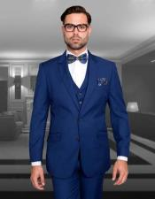 Slim Fit Suit 3 Piece Sapphire Blue Single Breasted Wool Statement