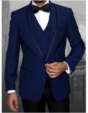 Statement Suits Clothing Confidence Single Breasted Sapphire Blue Modern Fit Tuxedo Wool Suit