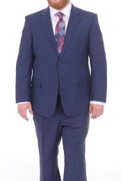 Fully Lined Blue Textured Portly Fit 2 Button Super 130s Wool