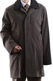 Mens Brown Collared 3/4 Length Single Breasted Waterproof Raincoat
