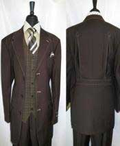 Trimmed Vest 3 Button Brown Belted Back Three Buttons Style suit