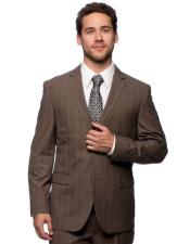 Mens 2 Button Slim Fit Brown Plaid Notch Lapel Vested Suit