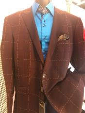 Mens Windowpane Brown Blazer ~ Sportcoat ~ Jacket