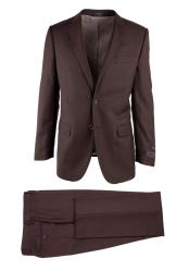 Novello Brown 2 Button Birdseye Modern Fit Wool Luxe Fine Brands
