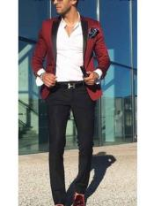 Mens Burgundy ~ Wine ~ Maroon Color Single Breasted Satin Peak Lapel Slim Fit Blazer