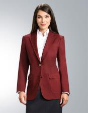 ~ Wine ~ Maroon Color Women's Two Button 100% Polyester Cheap