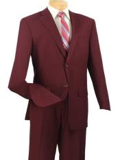2 Piece Big And Tall Notch Lapel Single Breasted Burgundy ~