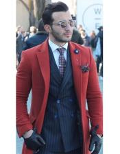 Mens Overcoat Red Mens Carcoat Long Jacket Three Quarter Wool Fabric Mens