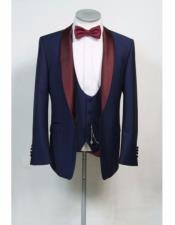 Nardoni Navy blue & Burgundy ~ Wine ~ Maroon Color Lapel Vested Tuxedo Flat Front Pants Wool