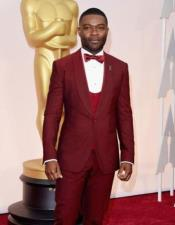 ~ Wine ~ Maroon Suit  Tuxedo with burgundy lapel Wool