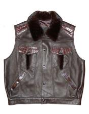 - 921 Burgundy ~ Wine ~ Maroon Color Buttons Closure Lambskin/Crocodile/Mink