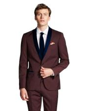 mens Burgundy Suit Shawl Lapel Burgundy