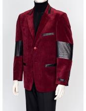 Burgundy ~ Wine ~ Maroon Color 2 Buttons Regular Fit Velvet Gator Trim Blazer