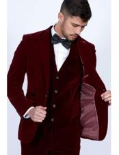 Single-Breasted-Burgundy-Velvet-Suit