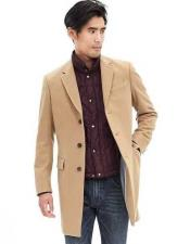 Mens Overcoat Three Quarters Length Mens Long Jacket Dress Coat Camel Wool