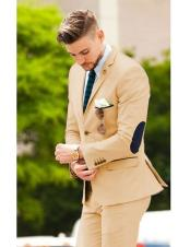 suit jacket with elbow patches Matching Free pants Camel (Slim Fit