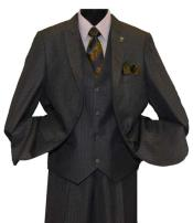 Charcoal 2 Button Single Breasted Peak Lapel Vested Side Vent Suit