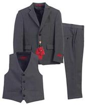 3 Piece Single Breasted Formal Notch Lapel Vest Charcoal Suit With Pants Set