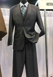 Mens Vittorio St Angelo Charcoal 2 Button Peak Lapel Plaid Suit
