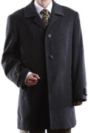 Dress Coat Single Breasted Charcoal Luxury Wool Cashmere Three-quarter Length Topcoats