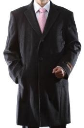 Dress Coat Single Breasted Luxury Wool/Cashmere Three-quarter Length Charcoal Topcoats ~