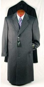 Charcoal Gray Single Breasted Mens Dress Coat Wool Blend Topcoats ~