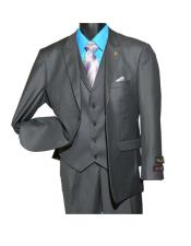 Men's Fashion Charcoal Peak Lapel Single Breasted 2 Button Vested Suit
