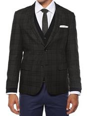 Mens Plaid Slim Fit Charcoal Vested Blazer Dinner Jacket