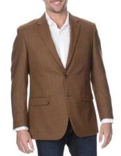 Mens Notch Lapel Coffee Single Breasted Rich Wool Blazer