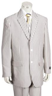 Mens Victorian Stripe Single Breasted Notch Lapel Coffee Zoot Suit