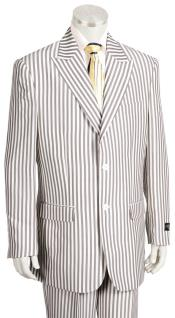 Mens Victorian Stripe Single Breasted Peak Lapel Coffee Zoot Suit