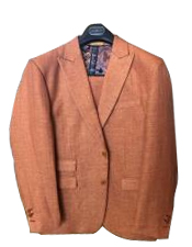 Brick Linen ~ Cotton Summer 2 Buttons Peak lapel Suit
