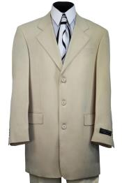 Red Stitch Single Breast  Flap Pocket Cream Zoot Suit