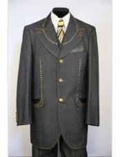 Mens Wide Peak Lapel brass & faux leather accents denim 3pc