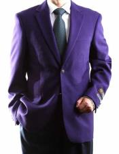 Mens Egg Plant 2 Buttons Big & Tall No Vent Sport Coat