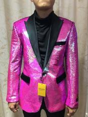 Alberto Nardoni Brand SEQUINS-1 Fuchsia ~ Hot Pink Shiny (Wholesale Price $95) Shiny Flashy paisley blazer mens