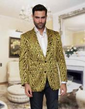 Nardoni Floral Paisley Shiny Satin Stage Party Two Toned Blazer / Sport coat / Jacket Gold