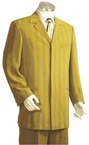 Mens  Besom Pocket Stitch Stripe Zoot Suit Gold