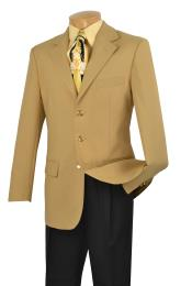 Mens Single Breasted Poplin Blazer - Three buttons Notch Lapel Jacket Gold