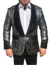 Nardoni Brand Menss Shawl Collar Fancy Sharkskin Chinese Style Party Blazer in Silver Paisley
